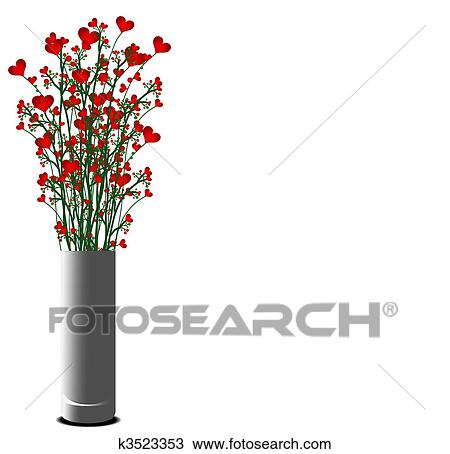 Drawing Of Vase With Red Heart Flowers K3523353 Search Clipart