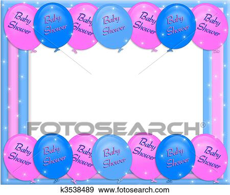 Stock illustration of baby shower invitation border k3538489 stock illustration baby shower invitation border fotosearch search vector clipart drawings filmwisefo