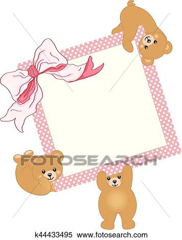 Clipart of Baby teddy bears holding pink frame and ribbon k44433495 ...