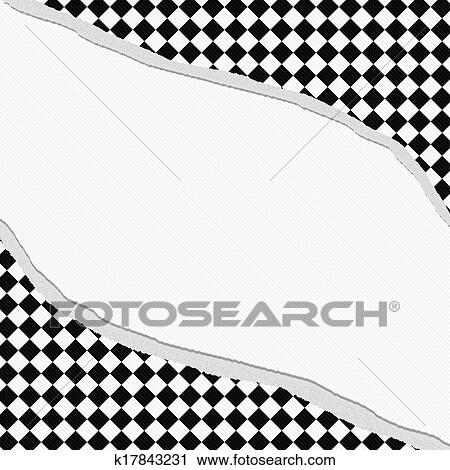 Clipart Of Black And White Diamond Checkered Frame With Torn