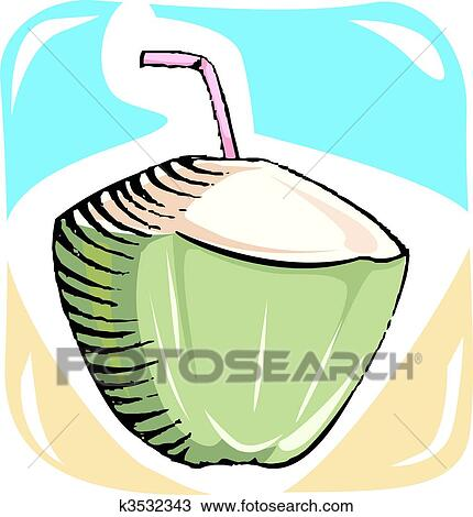 Drawing Of Coconut Drink K3532343