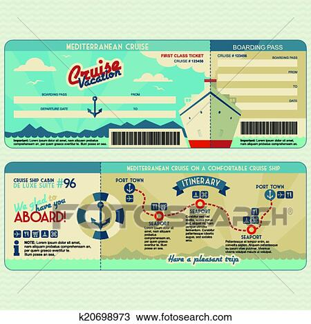 Clipart of Cruise ship boarding pass design template k20698973 ...