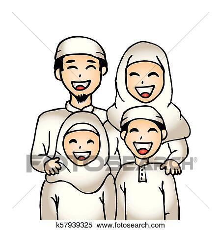 Cute Cartoon Muslim Family Clipart K57939325 Fotosearch