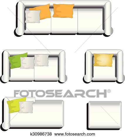 Furniture Top View Set 31 Clip Art K30986738 Fotosearch