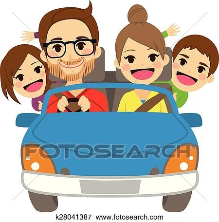 clip art of happy family traveling car k28041387 search clipart rh fotosearch com travel clipart free travel clipart free