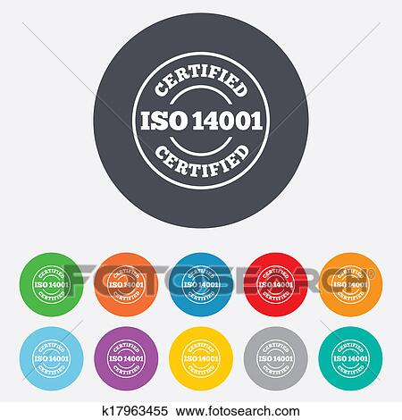 ISO 14001 Certified Sign Icon Certification Stamp Round Colourful 11 Buttons