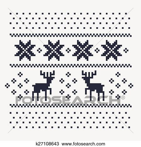 Noël Hiver Modèle Impression Pour Jersey Ou T Shirt Pixel Deers Et Flocons Neige Sur Les Fond Blanc Dessin
