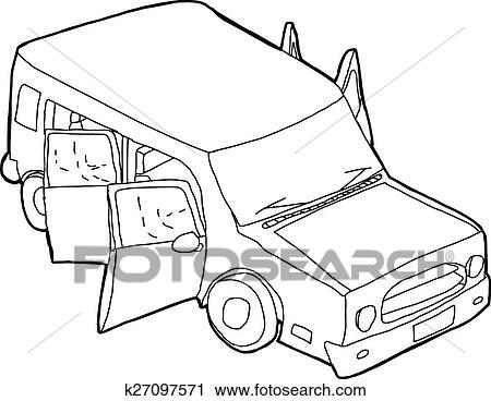 Clipart Of Outline Of Vehicle With Open Doors K27097571