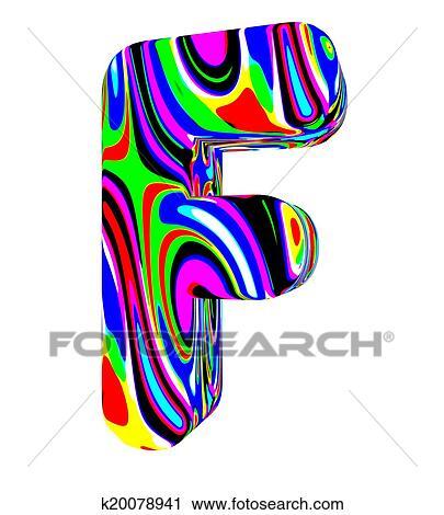 Alphabet Psychédélique clipart - psychédélique, alphabet-f k20078941 - recherchez des clip