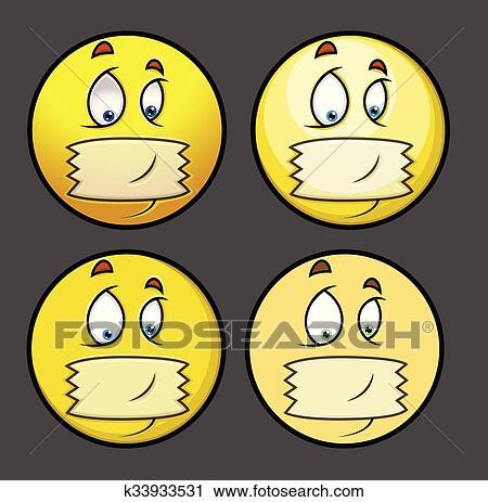 clipart silencieux bande sur bouche dessin anim emoji - Dessin Emoji