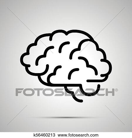 simple black human brain icon with with shadow clipart k56460213 fotosearch fotosearch