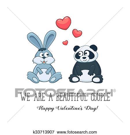 Clip Art Of Valentine Day Cute Animals K33713907 Search Clipart