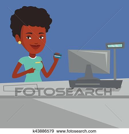 clip art of cashier holding credit card at the checkout k43886579