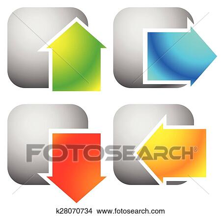 Colorful bold arrow icons  Arrows pointing to every direction  Left, right,  up, down arrows  (Vector) Clipart