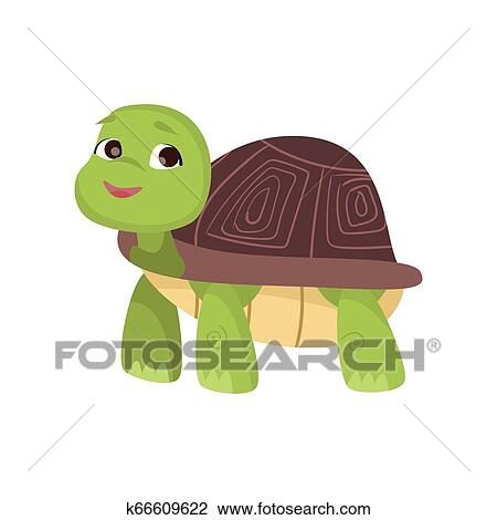Cute Little Turtle Stands On Four Paws Looking Up And Smiling