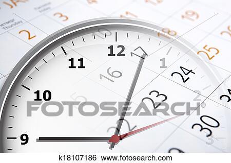 Calendario Con Numero Giorni.Foglio Di Uno Calendario Con Il Numero Di Giorni E Orologio Archivio Fotografico