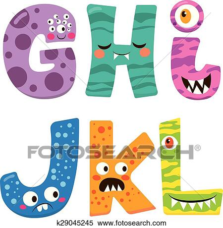 clipart of halloween monster alphabet k29045245 search clip art