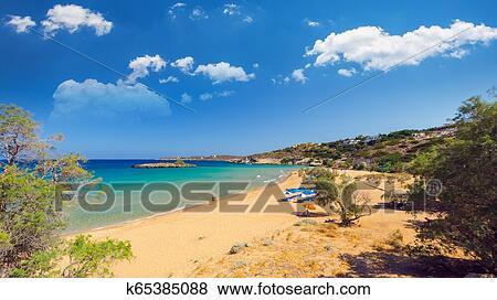 Kalathas Beach Crete Island Greece Stock Photo K65385088