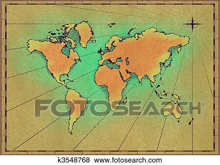Clip art of old world map k3548768 search clipart illustration an old world map drawn onto parchment paper gumiabroncs Choice Image