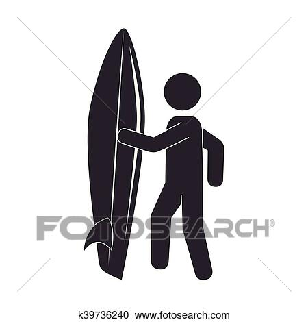 Silhouette Surfer Surfing Table Sport Clipart