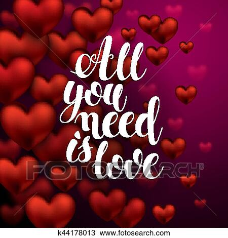 Clipart Of All You Need Is Love Calligraphy Hand Drawn Lettering