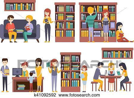 Bibliotheque Et Librairie A Gens Lecture Choisissant Livres Clipart