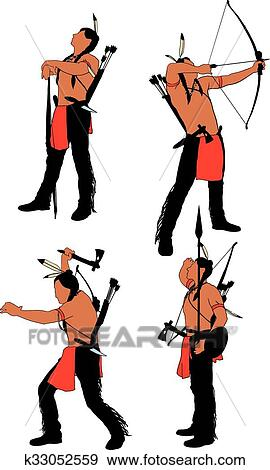 Clip Art Of Brave Indian Warrior K33052559 Search Clipart