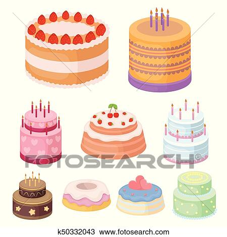 Cakes For The Holidays A Set Of Different Sweets Beautifully Decorated Cakes And Muffins Cakes Icon In Set Collection On Cartoon Style Vector