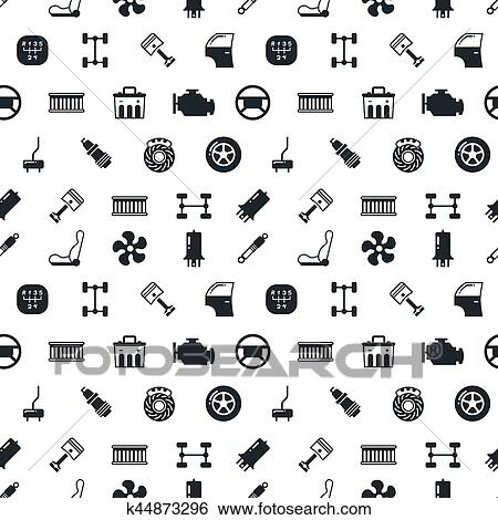 Clip Art of Car spare parts vector seamless pattern k44873296 ...