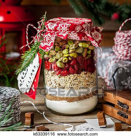 Christmas Cookie Mix In A Jar Stock Photograph K63339116