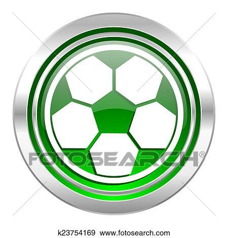 Fussball Symbol Grun Taste Football Zeichen Stock