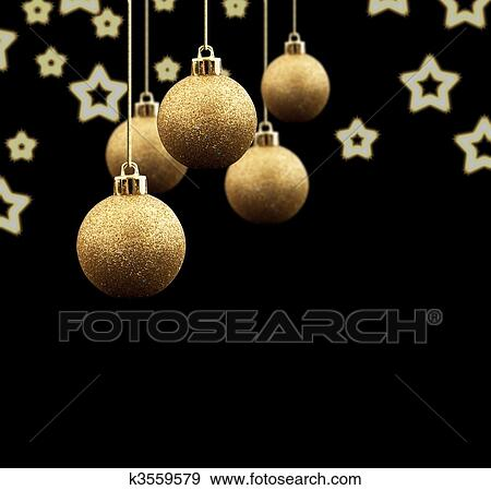 gold christmas balls on a black background - Black And Gold Christmas Ornaments