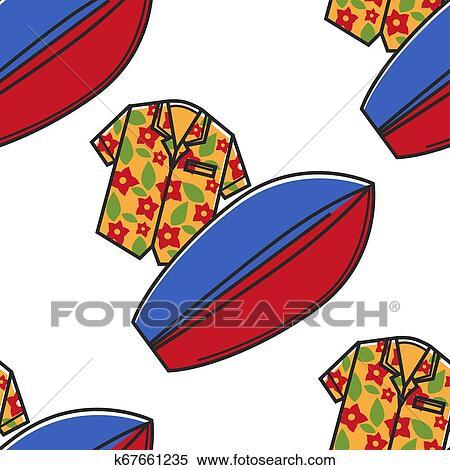 Hawaiian surfboard clipart image #22430