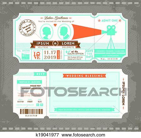 Clip Art Of Movie Ticket Wedding Invitation Design Template