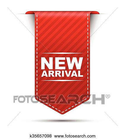 c467a9e7 Red vector banner design new arrival Clip Art | k35657098 | Fotosearch