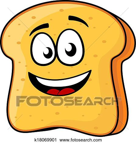 clipart of slice of bread or toast with a beaming smile k18069901 rh fotosearch com slice of bread clipart black and white 2 slices of bread clipart
