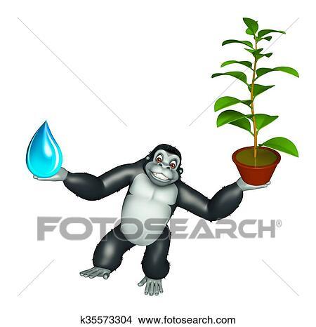 かわいい ゴリラ 漫画 特徴 で 水滴 そして 植物 イラスト