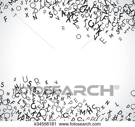 clipart of abstract black alphabet ornament frame isolated on white