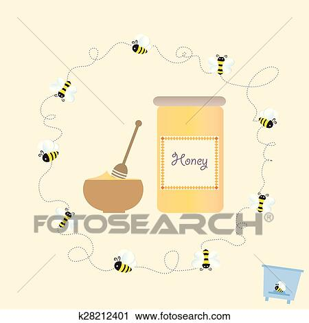 Clipart of cartoon bee jar honey retro healthy natural vector clipart cartoon bee jar honey retro healthy natural vector illustration fotosearch search clip ccuart Images