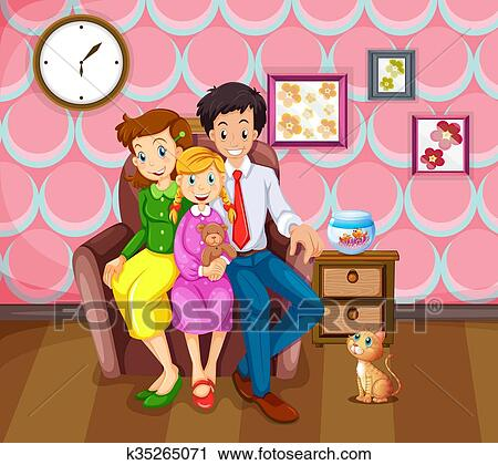 Clipart of Girl and her family in the living room k35265071 - Search ...