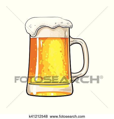 Clip Art Grande Tazza Di Birra Fredda Con Schiuma E Bolle