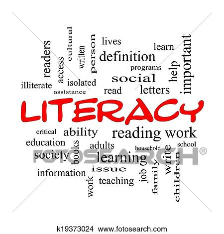 Stock Photo Of Literacy Word Cloud Concept In Red Caps K19373024