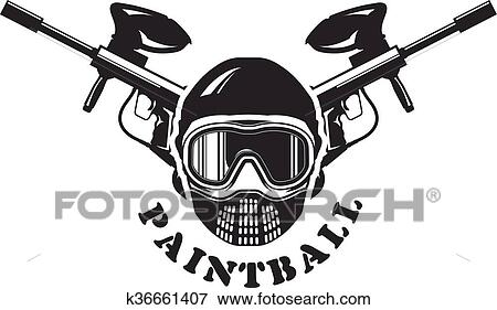 clip art of paintball emblem mask and markers k36661407 search rh fotosearch com paintball gun pictures clip art paintball splat clip art