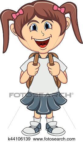 Petite Fille à Sac à Dos Dessin Animé Clipart