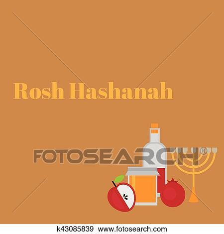 Clip art of rosh hashanah jewish new year greeting card hebrew clip art rosh hashanah jewish new year greeting card hebrew symbols judaism elements m4hsunfo