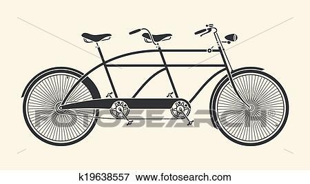 Vendemmia Bicicletta Tandem Clip Art