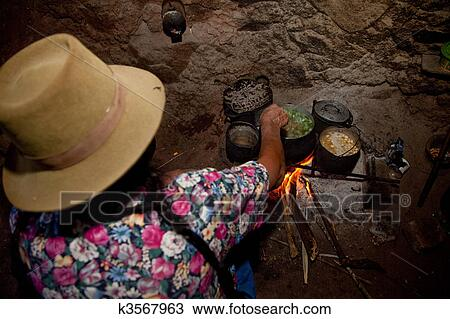 Stock Photo Of Woman Is Cooking In Hut In The Andes Of Peru K3567963