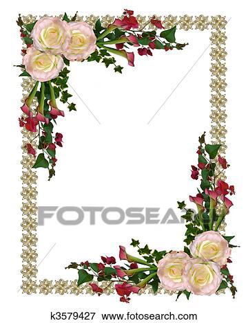 結婚式の招待 優雅である 花 イラスト K3579427 Fotosearch