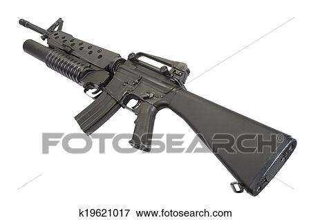 picture of an m16a4 rifle equipped with an m203 grenade launcher