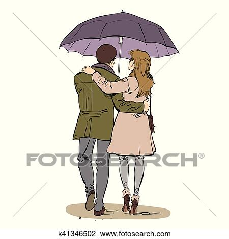Clipart Of Back A Couple Man And Woman Walking Under An Umbrella